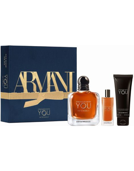 Armani Emporio Stronger With You Intensely Set (Apa de Parfum 100ml + Apa de Parfum 15ml + Gel de Dus 75ml)