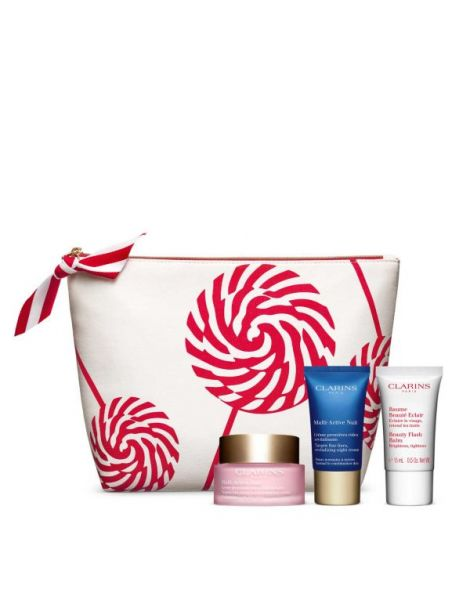 Clarins Set (Multi-Active Day 50ml + Multi-Active Night 15ml + Beauty Balm Flash + Pouch)